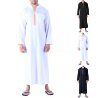 Muslim Mens Clothing Saudi Arab Long Sleeve Thobe Islamic Jubba Thobe Kaftan Top