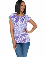Susan Graver Womens Printed Liquid Knit Extended Sleeve Top M Purple A304063