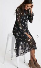 M&S Collection Floral Print Hanky Hem Midi Dress Size 12 New With Tags