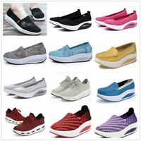 Womens Shape Ups Shoes Walking Sport Sneakers Lace UP Toning Fitness Wedge Pumps