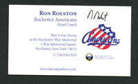Ron Rolston signed autograph Rochester Americans Coach Business Card BC247