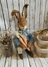 Handmade Primitive Standing Peter Rabbit Inspired Bunny Easter Decor Farmhouse