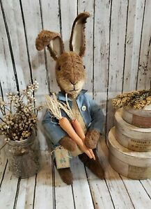 Handmade Primitive Standing Peter Rabbit Inspired Bunny Easter Decor Farmhouse
