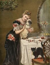 PUG CARLIN MOPS HUND ANTIQUE ART DOG PRINT - The Graphic Christmas Number 1878