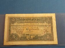 Syria 5 Piastre circulated note from 1919; dirt on face, creases, but no tears