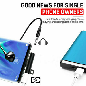 2in1 USB C Type-C to 3.5mm Headphone Jack AUX & Sync Data & Charge Cable Adapter