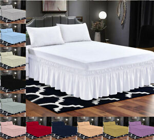 Plain Dyed Fitted Valance Sheet Bed Sheets Single Double King & Super King Size