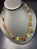 "Bohemian Peridot Carnelian Stone Pretty Beaded Pendant Style Necklace  18"""