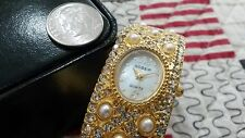 Gossip Quartz Watch Girls Woman Mother of Pearl Face Crystals band GOLDENTONE