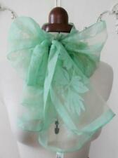 Vintage 1950s Rockabilly Green Floral Design Chiffon Pussy-Bow Long Narrow Scarf