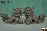 Old China Fengshui bronze Evil Door Guardian Fu Foo Dog Lion beast statue Pair