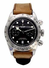Tudor Heritage Black Bay 41 Chronograph Brown Leather Band Auto Watch 79350-0002