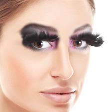 Ladies Black Feather False Eyelashes Draq Carnival Halloween Fancy Dress
