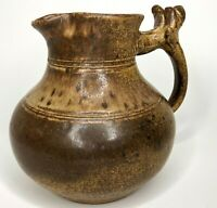 Frank Stofan Signed Artisan Pottery Brown Ash Glazed Rustic Stoneware Pitcher