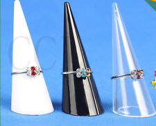 3/5 PCS Jewellery Ring Display Stud Holder Cone Shape Acrylic Black/Clear/White