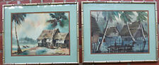 2 Original Paintings Philippines Framed Signed Seascape Art Tropical Vtg