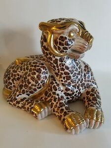 Lovely Garcia Imports Leopard Large Gold Tan  Figurine Statue