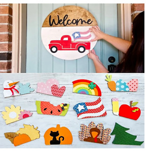 Front Door Welcome Signs 12 Interchangeable Inserts with Rustic Farmhouse Sign