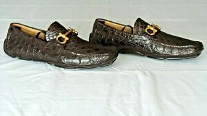 RARE! $2700 SALVATORE FERRAGAMO Brown Crocodile Alligator Loafers Shoes Boots 9