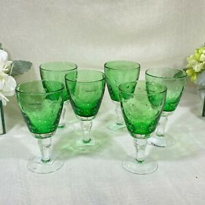 Vagabond House WINE GLASS - FOREST DEW-GREEN SET OF 6 New