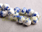 New 10pcs 10mm Round Porcelain Ceramic Loose Spacer Beads Big Hole Charms Blue