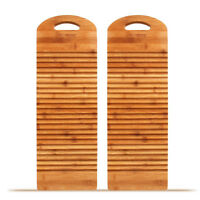 2 x Bamboo Corrugated Laundry Washing Cleaning Hand-washed Clothes Washboard 洗衣板