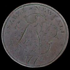 """More details for george iii. a love token halfpenny. engraved """"israel newfall, 1771""""."""