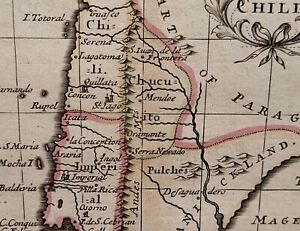 1690 JOHN SELLER MAP CHILI CHILE ANDES St. JAGO PULCHES ORIGINAL HAND COLOUR