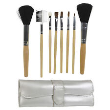 8 Piece Leather Professional Makeup Eye Liner Brushes Tools Set And Case NEW