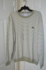 LACOSTE 100% Authentic Gray Striped Wool Sweater Men Size XL MSRP $225