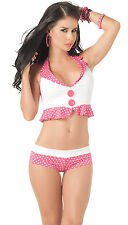 2071 Gogo Rave Pink Polka dots Sexy Tan-kini Bikini Exotic Dance Club wear S M L