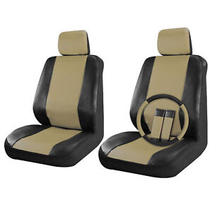 Faux Leather Car Seat Covers Set Front Seats Black/Beige Tan 9pc, Steering Wheel