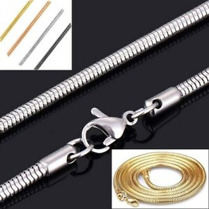 Schlangenkette Edelstahl Silber Gold Schwarz Rose 1-3mm Halskette Anhänger Kette