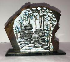 Vintage Signed Russian Prisoner Folk Art~Painting on Granite Rock
