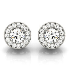0.30 CT ROUND  DIAMOND HALO SEMI-MOUNT EARRINGS