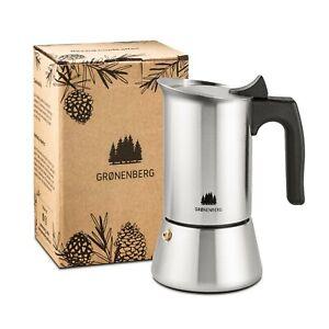 Groenenberg Espressokocher Edelstahl 6 Tassen (300 ml) | Espressokanne Induktion