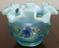 FENTON Blue Topaz Opalescent Legacy Tulips & Forget-me-nots VASE Hand Painted