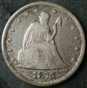 1875 CC 20c Seated Liberty Silver Twenty-Cent Piece