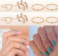 4PCS Rings Urban Gold Plated Crystal Plain Above Knuckle Ring Band Midi Ring hs7