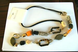 WOW! SHADES OF BROWN BEAD LONG SUEDE CORD NECKLACE SIGNED DAISY & EVE - BNWT
