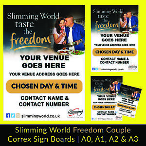 Slimming World Freedom Couple Correx Sign Board 4mm A0, A1, A2, A3 Print Banner
