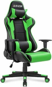 Leather Gaming Chair With Headrest and Lumbar Support