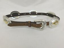 "TONY LAMA BROWN LEATHER CONCHO SILVER PLATED GOLD TONE BELT 28"" - 32'"
