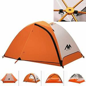 2 Person Backpacking Tent Lightweight Waterproof,  Double Wall Easy Orange