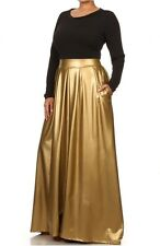 TWO-TONE COMBO MAXI DRESS FAUX LEATHER HIGH WAIST POCKET PLEATED SWEEP SKIRT