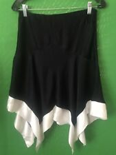 7430)  NWT BEBE size 2 viscose satin black white asymmetrical hem skirt new