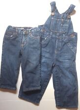 Boys Baby Gap Overalls 18 24 Mos. &  Osh Kosh Pants Jeans 12 Mos. Both Lined