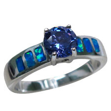 FANTASTIC 1 CT TANZANITE BLUE OPAL 925 STERLING SILVER RING SIZE 5-10