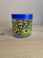 Vintage Glass Pansy Storage Jar with Blue Lid