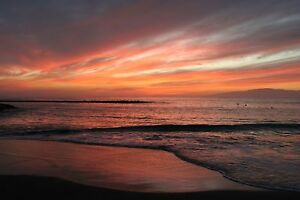 MASSIVE  photo landscape art  beach  A0 CANVAS PRINT TROPICAL  ocean sunset